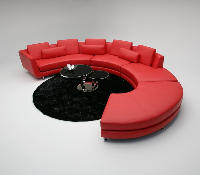 Contemporary Curved Sectional Sofa In Red Leather Modern