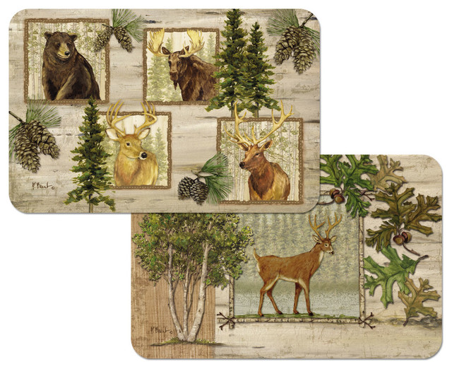 Rustic Cabin Forest Trails Wildlife Plastic Placemats Set