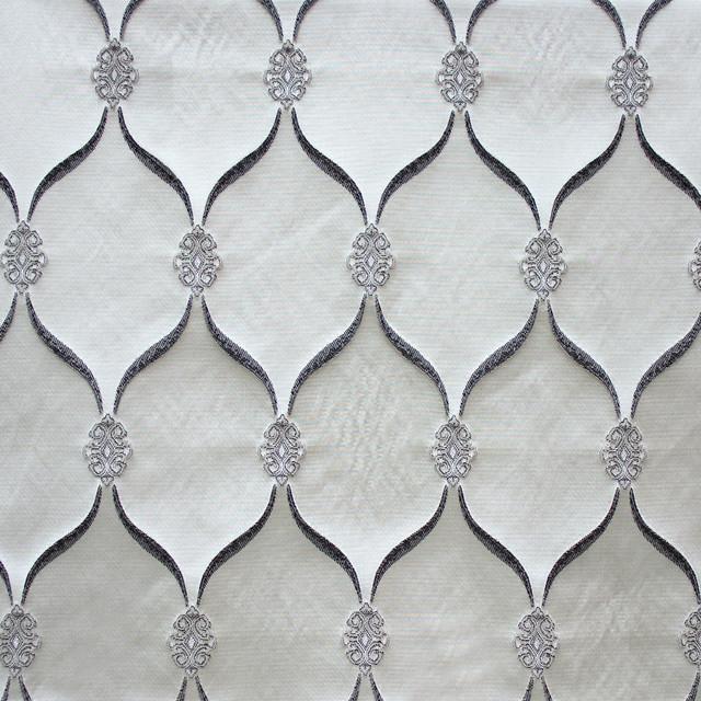 Lodi Silver Fabric, Embroidered, Yard