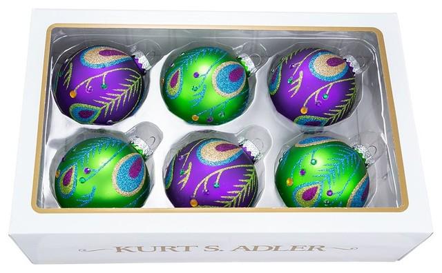 Kurt Adler 80 mm Peacock Purple/Green Glass Balls, 6-Piece Set