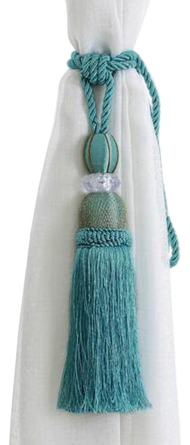1 Pair Curtain Tiebacks, Holdbacks Room Decors Curtain Accessories Blue Tassels.