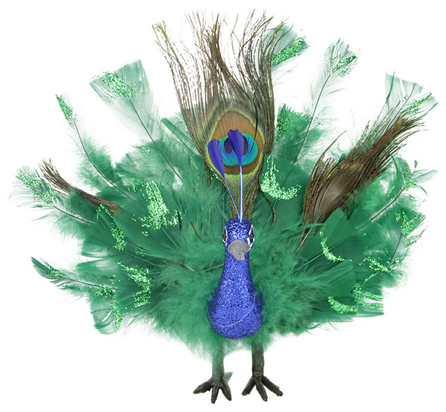 Colorful Regal Peacock Bird With Open Tail Feathers  : contemporary christmas ornaments from www.houzz.com size 640 x 592 jpeg 125kB