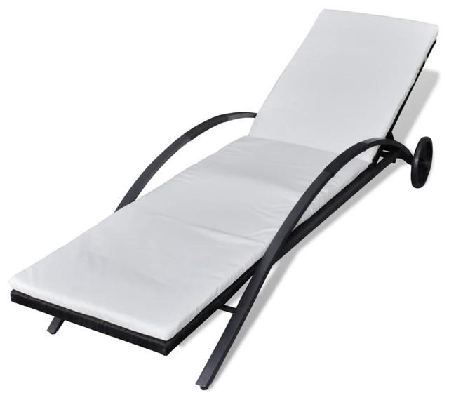vidaXL Sun Lounger Poly Rattan Wicker Black Outdoor Bed Chaise Seating Garden