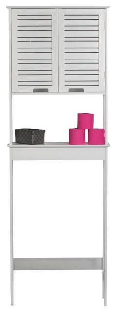 Freestanding Over The Toilet Space Saver Cabinet 2 Doors Bath Storage, Miami.
