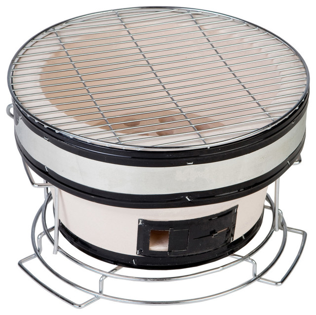 Small Round Yakatori Charcoal Grill Contemporary Outdoor Grills