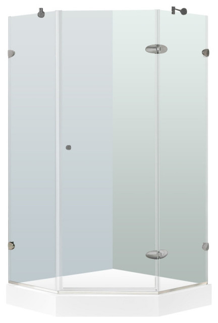 VIGO VG6061CL36W Verona Neo Angle Hardware Shower Enclosure W/ White Base    Contemporary   Shower Stalls And Kits   By Blue Bath