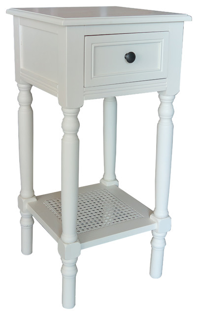 Urbanest New Haven Accent Table With Drawer And Rattan Shelf, Cream  Traditional Side