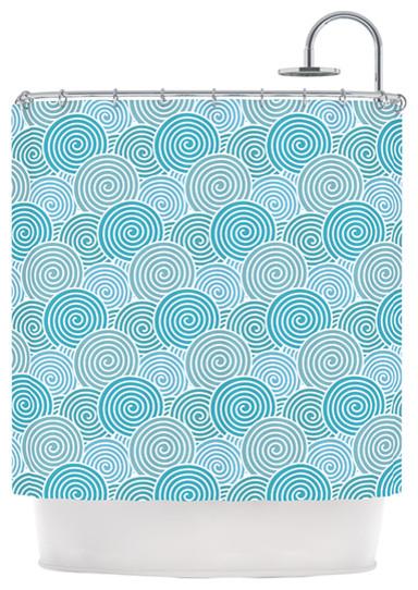 Nick Atkinson Ocean Swirl Teal Green Shower Curtain Beach Style