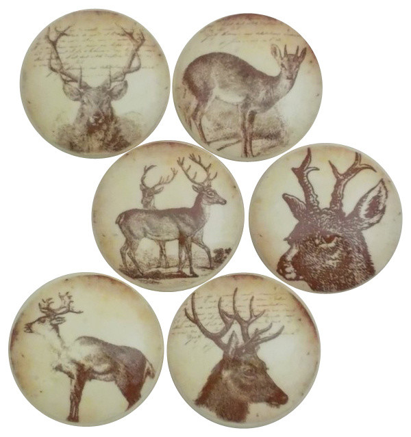 Vintage Stag Cabinet Knobs, 6-Piece Set - Rustic - Cabinet And Drawer Knobs - by Twisted R Design