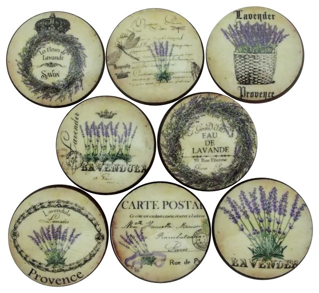 French Lavender Label Cabinet Knobs, 8-Piece Set