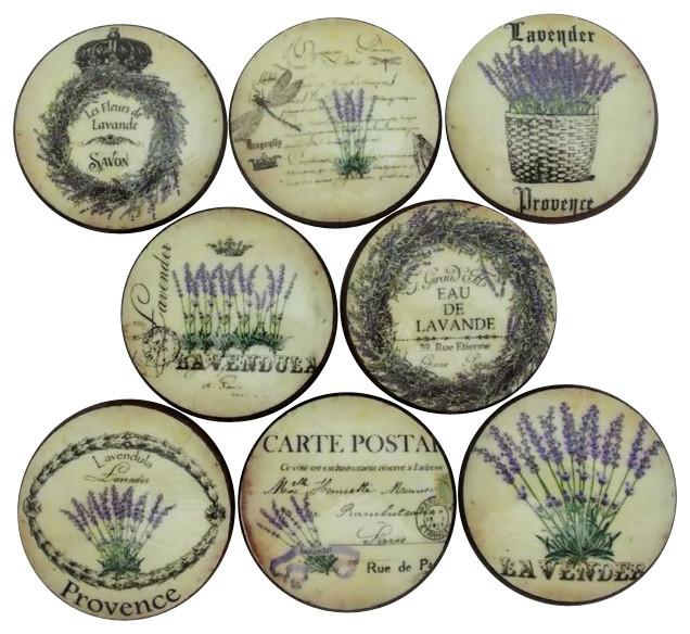 "French Lavender Label Cabinet Knobs, 8-Piece Set, 1.5"""