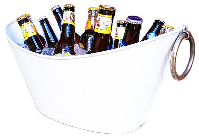 White Waved Galvanized Beverage Tub
