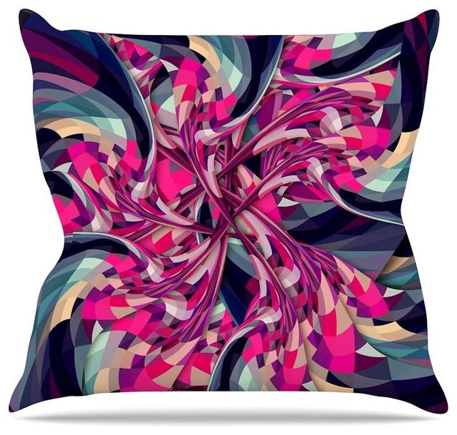 """Danny Ivan """"purple Spiral"""" Pink Geometric Throw Pillow, Indoor, 16""""x16""""."""