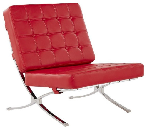 Global Furniture Tufted Chair Natalie Red With Chrome Frame 30x34x33 Red