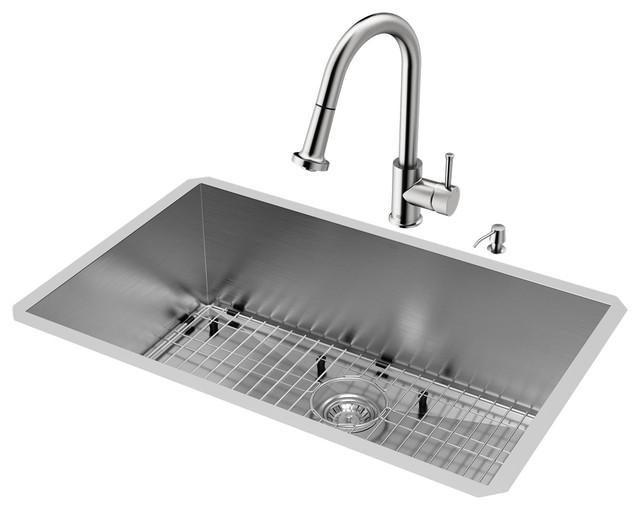 "Vigo All-In-One Ludlow Stainless Steel Undermount Sink Set, 30""."
