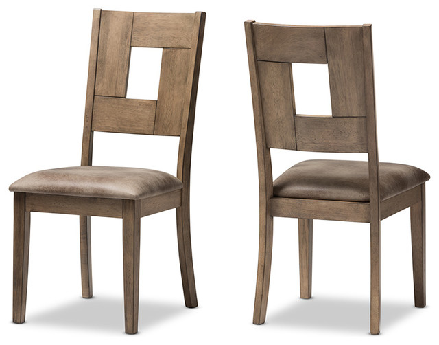 Gillian Weathered Gray Wood And Brown Faux Leather Dining