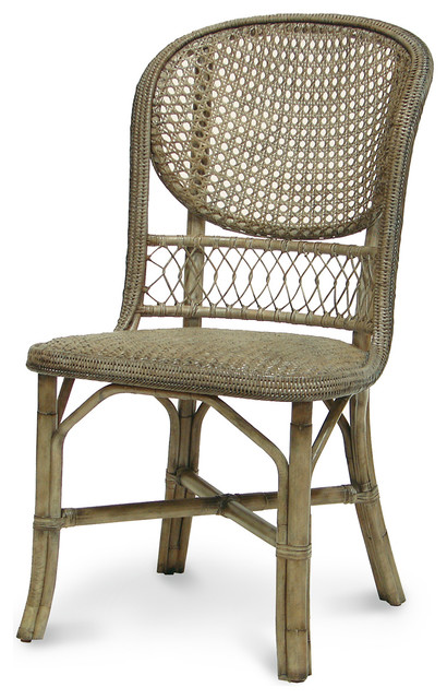 Palecek Antique Gray Cane Side Chair Transitional Dining Chairs