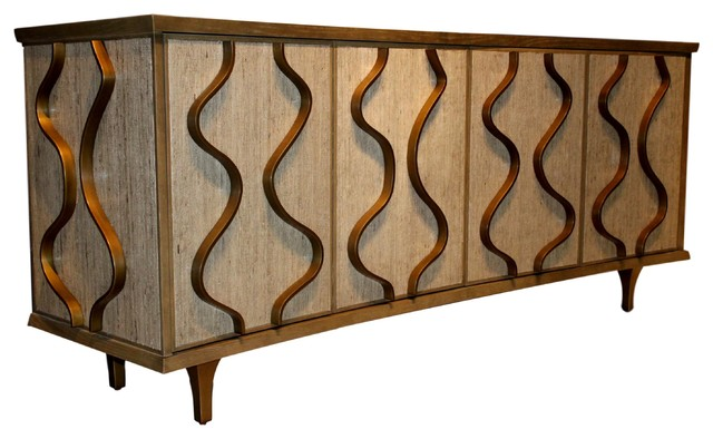 Elegant Mid Century Modern Curved Media Cabinet, Wood Wave Abstract Sculpted