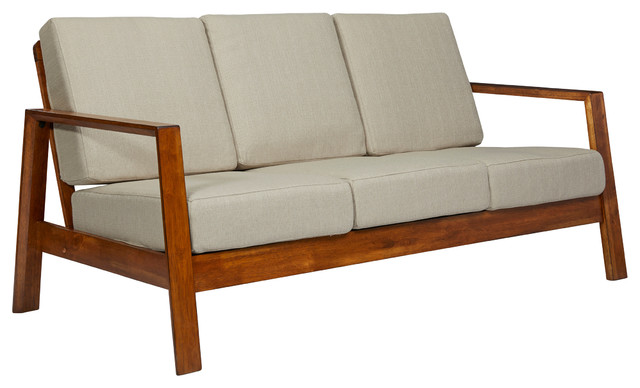 Carlyle Mid Century Modern Sofa With Exposed Wood Frame Barley Tan