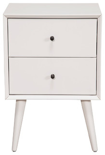 Malmo Wooden Nightstand, White   Midcentury   Nightstands And Bedside  Tables   By Alpine Furniture, Inc