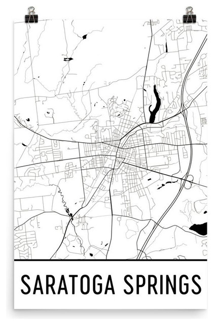 Saratoga New York Map.Saratoga Springs New York Map Art Print Poster Wall Art