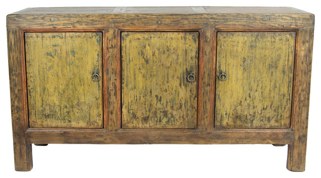 Consigned Antique 3 Door Distressed Painted Sideboard