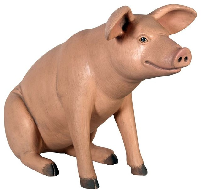 Captivating Sitting In Hog Heaven Pig Statue Traditional Garden Statues And Yard