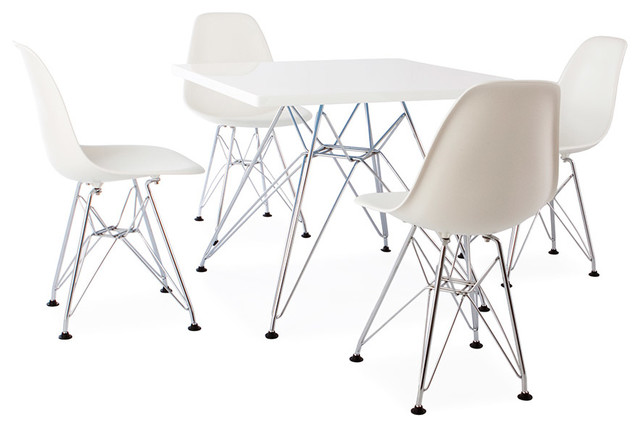 Mid Century Retro Kids Square White Table 4 Kids DSR Chairs – Vintage Kids Table and Chairs