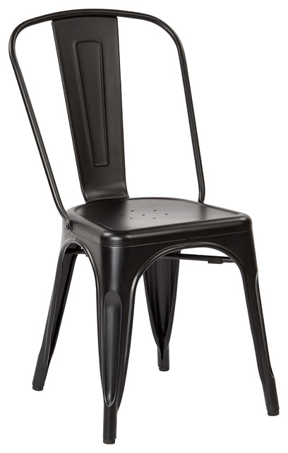 OSP Bristow Metal Stackable Chairs Matte Black Set Of 2 Modern Dining