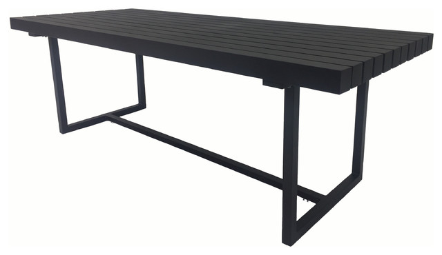Superior Kroes Outdoor Dining Table, Black Contemporary Outdoor Dining Tables