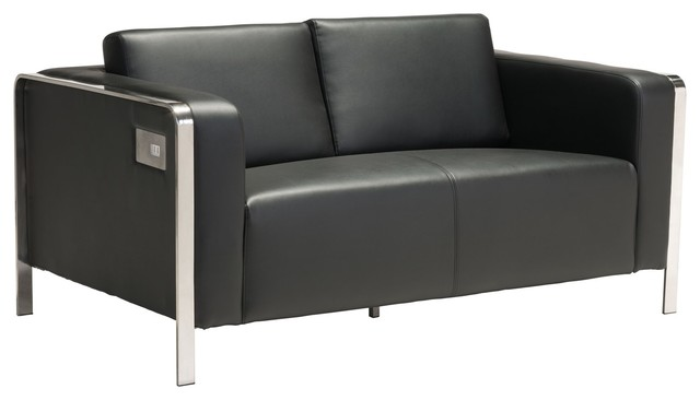 Modern Contemporary Urban Living Room Office Loveseat Sofa, Black, Faux  Leather