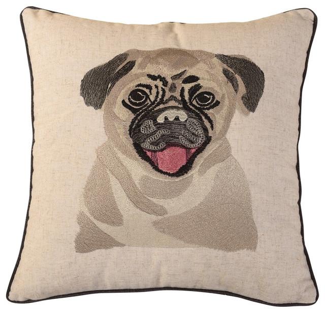 Gray Bulldog Embroidered Throw Pillow Craftsman Decorative Pillows By Calla Angel