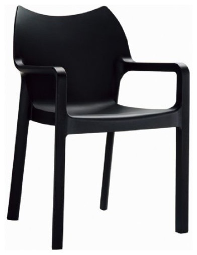 Dining Arm Chairs Black diva resin outdoor dining arm chair, black - contemporary