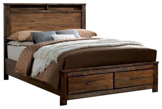 Furniture Of America Elkton Platform Panel Storage Bed, Oak, Queen.