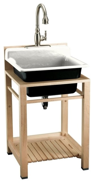 KOHLER K-6608-3P-0 Bayview Wood Stand Utility Sink with Three-Hole Faucet Drilli
