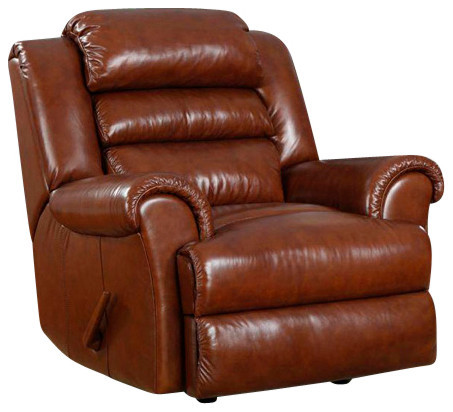 Triple Pub Back Leather Recliner Contemporary Recliner