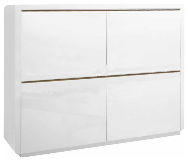 Prana, White High Gloss Highboard Buffet With 4 Doors Modern Buffets And