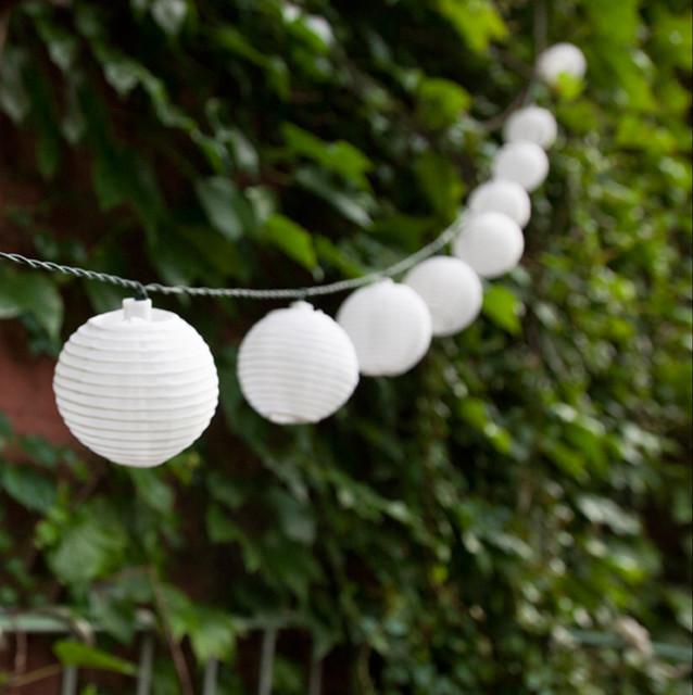 White Solar Mini Lantern String Lights, Strand of 30 asian-lighting - White Solar Mini Lantern String Lights, Strand Of 30