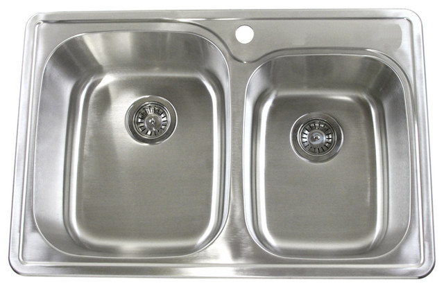 33 Top Mount Drop In Stainless Steel Double Bowl Kitchen Sink