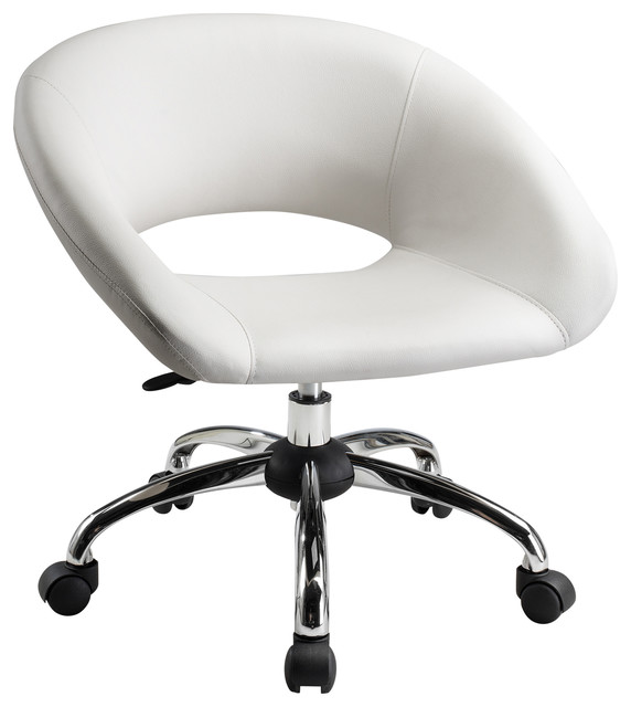 Contemporary Pu Computer Chair, White.