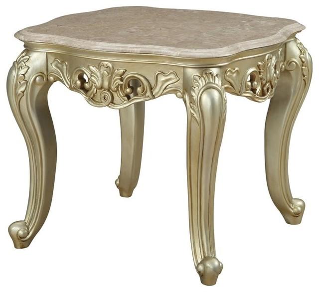 ACME Alyx Pedestal Table in Antique White