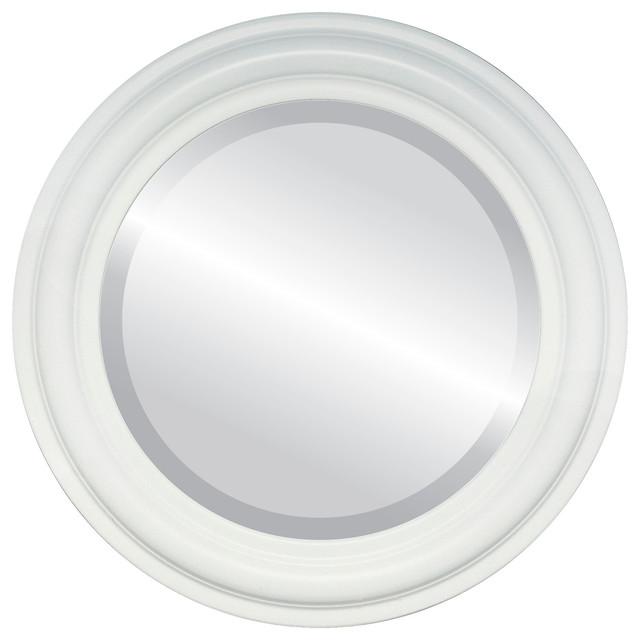 Philadelphia framed round mirror in linen white for White round wall mirror