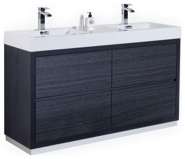 Bliss 60 Double Sink Free Standing Bathroom Vanity High Gloss White Modern Bathroom Vanities And Sink Consoles By Kubebath Llc Houzz