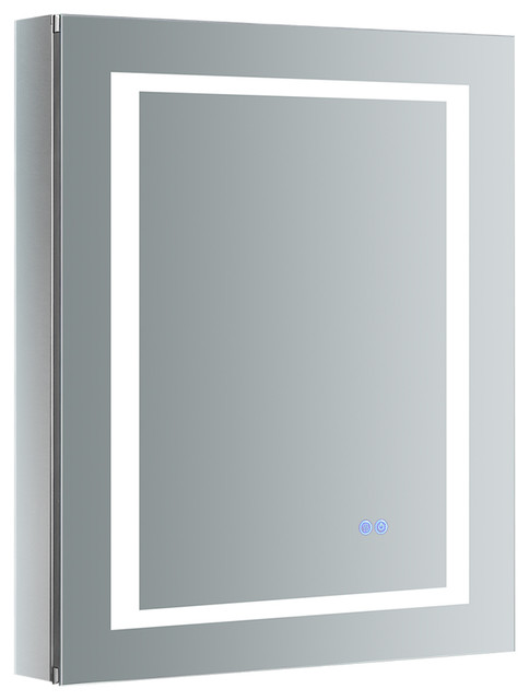 Spazio 24 Wide X 30 Tall Bathroom Medicine Cabinet W Led Lighting