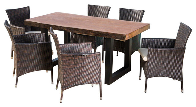GDF Studio 7-Piece Louise Outdoor Multibrown Wicker and Concrete Dining Set
