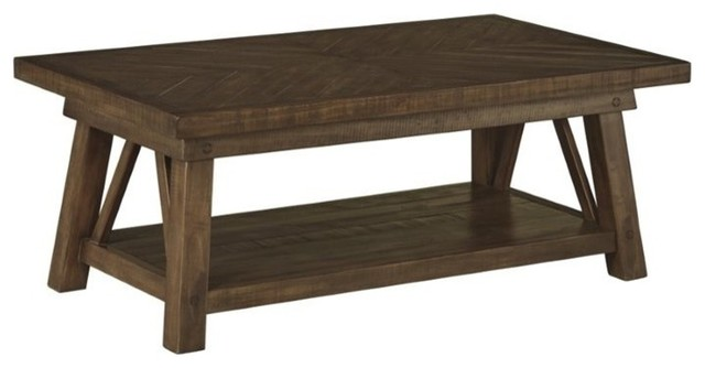 Ashley Dondie Coffee Table Rustic Brown Transitional Coffee Tables By Homesquare