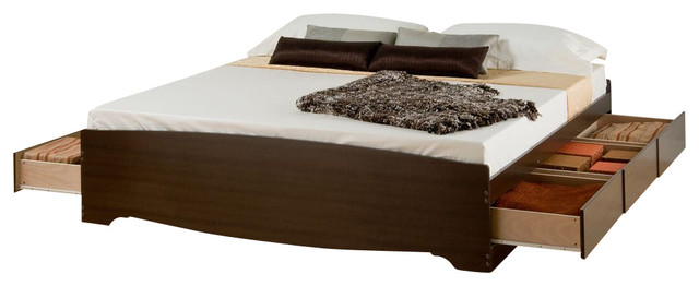 Prepac Espresso King 6-Drawer Platform Storage Bed.