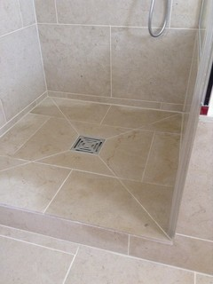 Limestone Shower Floor Wet And Cracked Grout