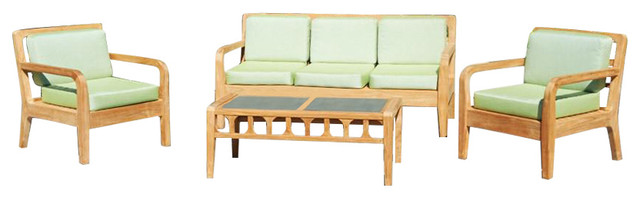 Lodge 4-Piece Outdoor Sofa, Armchair and Coffee Table Set
