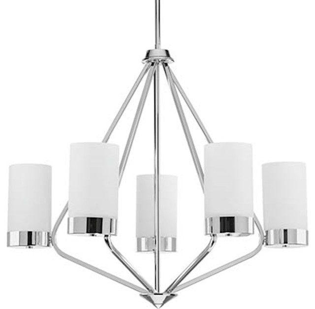 5-Light Chandelier, Polished Chrome With Etched Shades